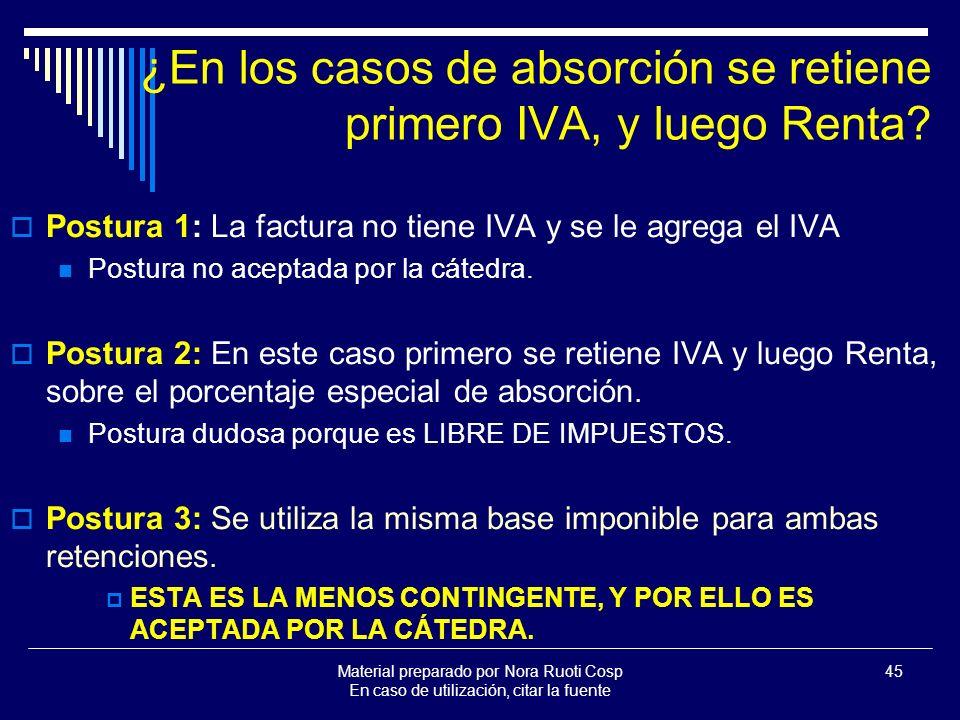 ¿En los casos de absorción se retiene primero IVA, y luego Renta