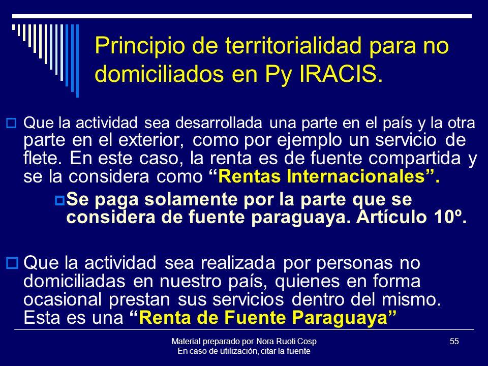 Principio de territorialidad para no domiciliados en Py IRACIS.