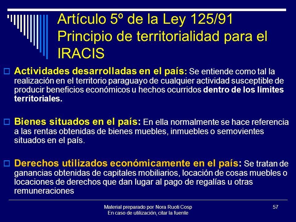 Artículo 5º de la Ley 125/91 Principio de territorialidad para el IRACIS