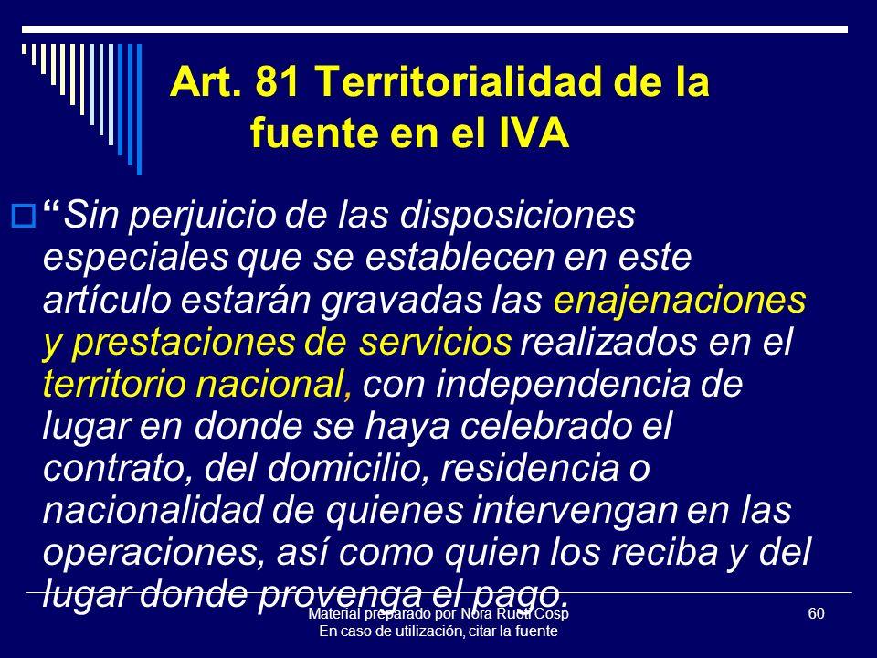 Art. 81 Territorialidad de la fuente en el IVA