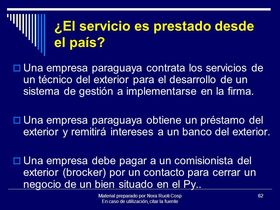 ¿El servicio es prestado desde el país