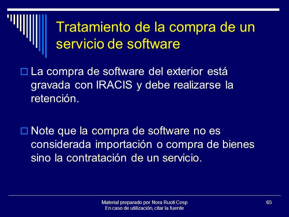 Tratamiento de la compra de un servicio de software