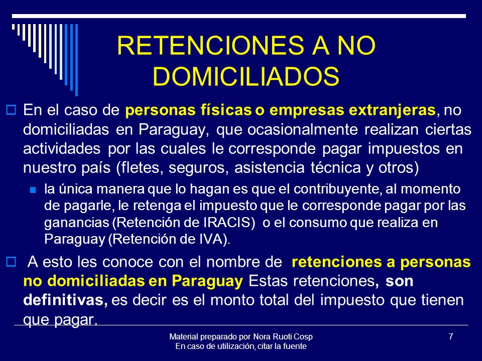 RETENCIONES A NO DOMICILIADOS
