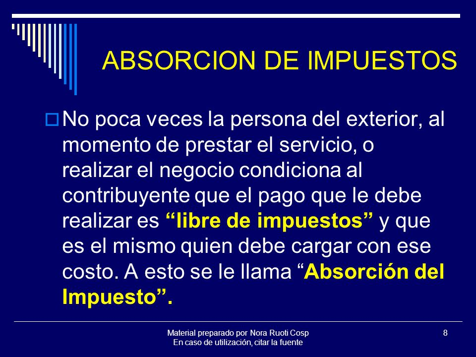 ABSORCION DE IMPUESTOS