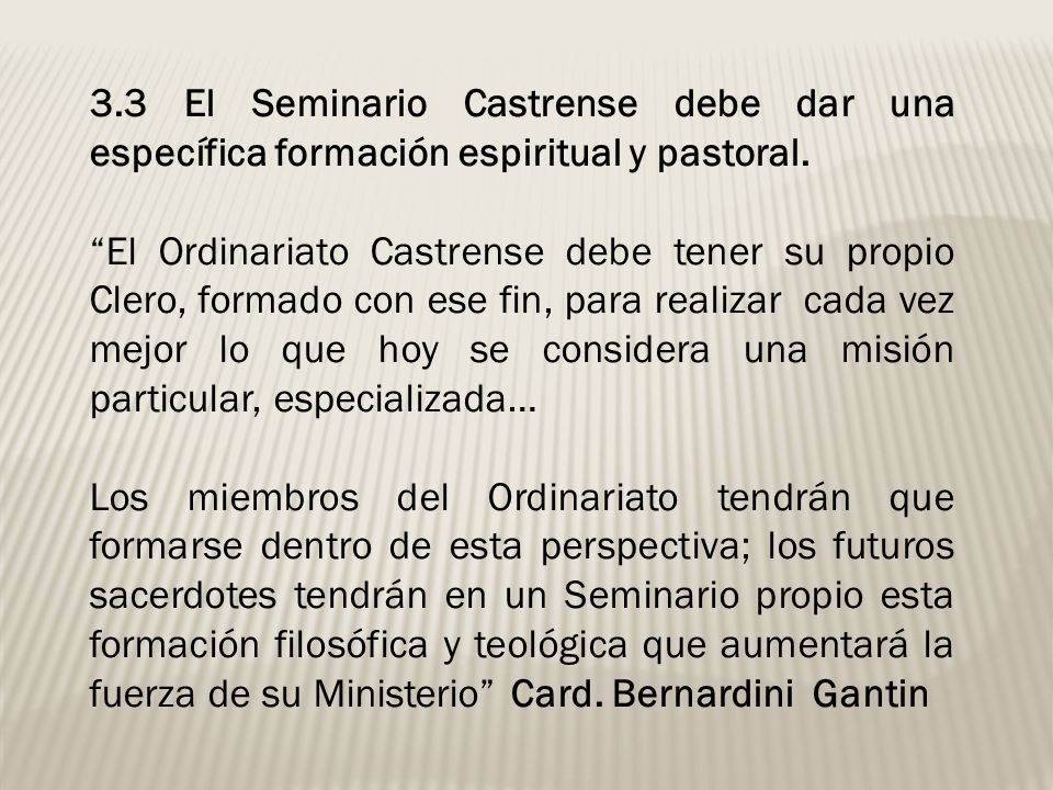 3.3 El Seminario Castrense debe dar una específica formación espiritual y pastoral.