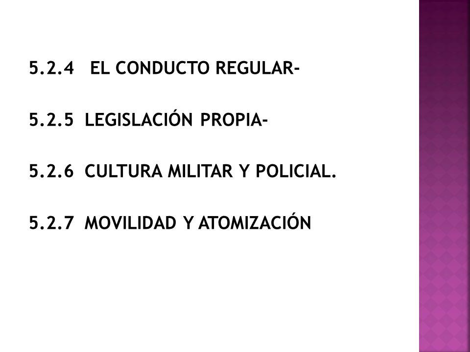 5. 2. 4 EL CONDUCTO REGULAR- 5. 2. 5 LEGISLACIÓN PROPIA- 5. 2