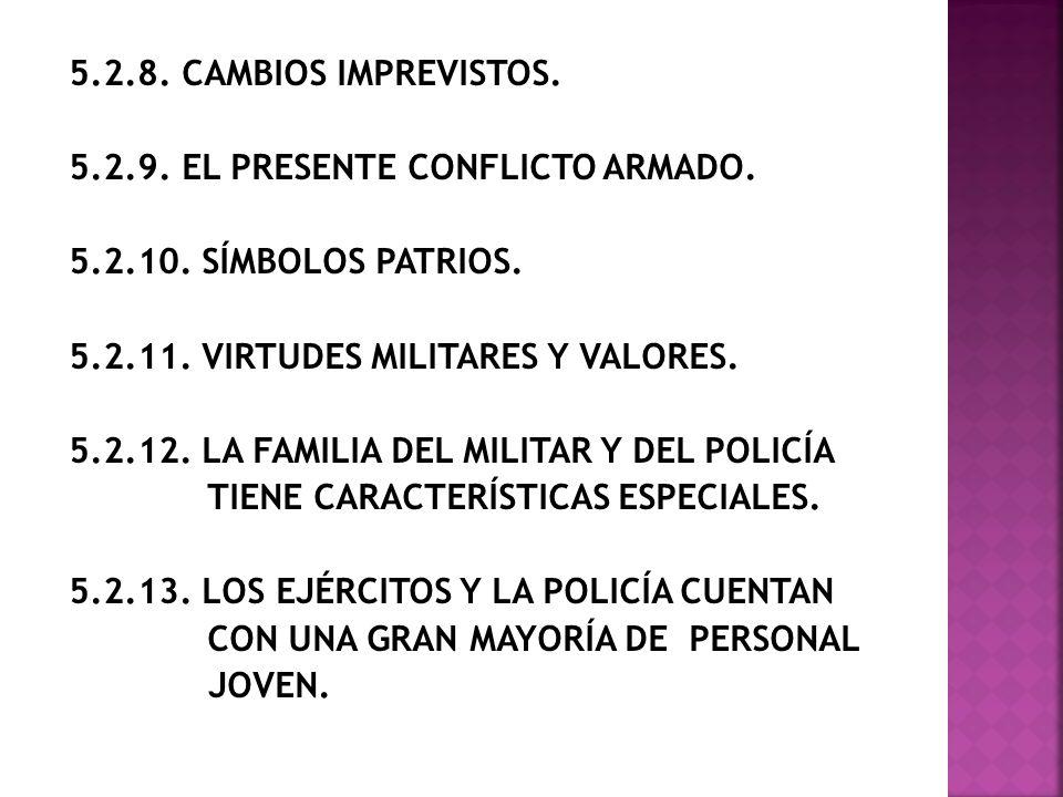 5. 2. 8. CAMBIOS IMPREVISTOS. 5. 2. 9. EL PRESENTE CONFLICTO ARMADO. 5