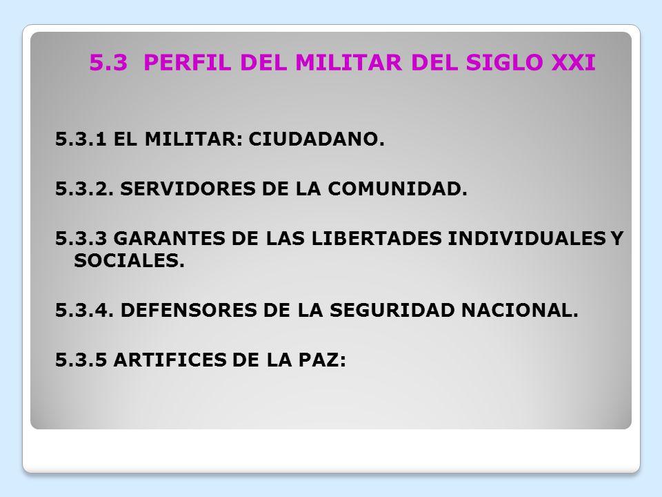 5.3 PERFIL DEL MILITAR DEL SIGLO XXI
