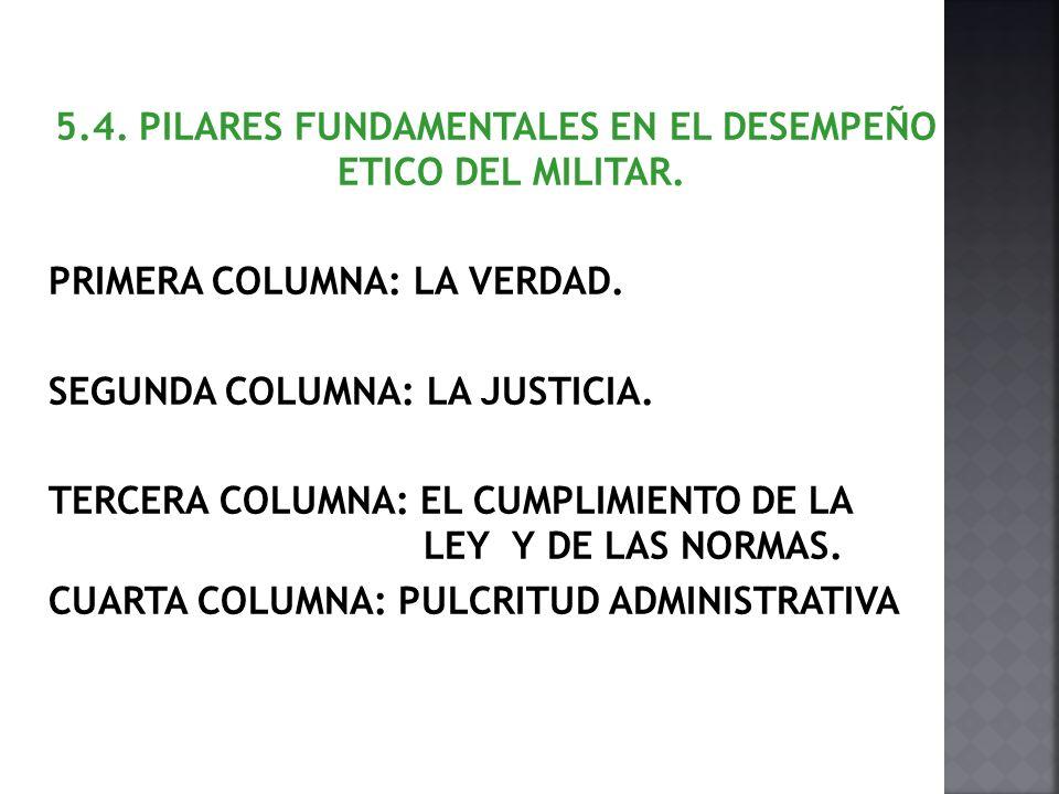 5. 4. PILARES FUNDAMENTALES EN EL DESEMPEÑO ETICO DEL MILITAR
