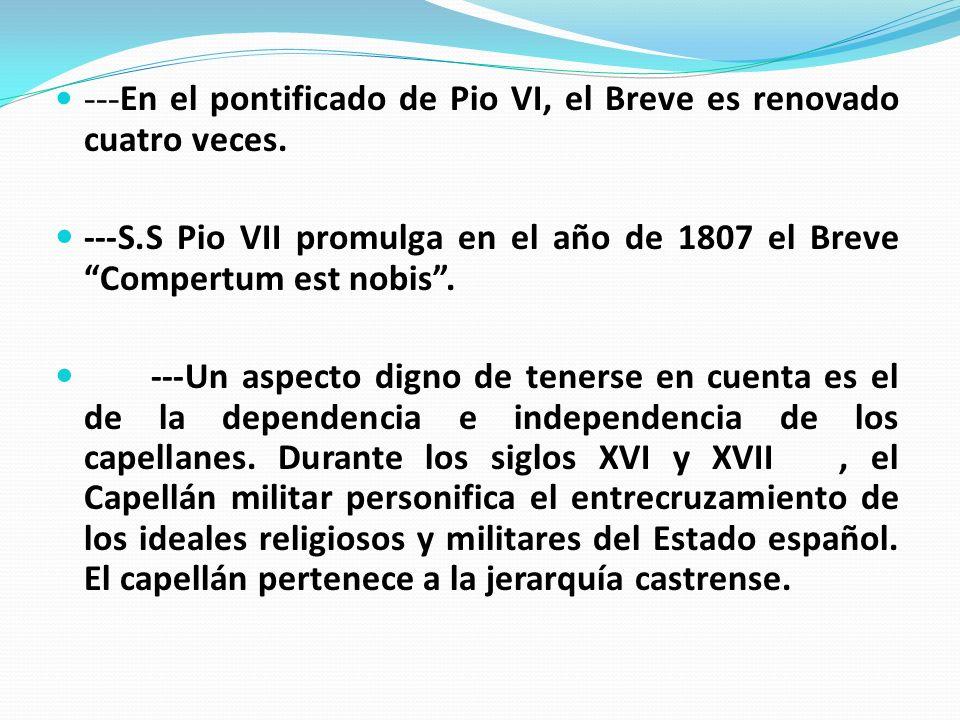 ---En el pontificado de Pio VI, el Breve es renovado cuatro veces.