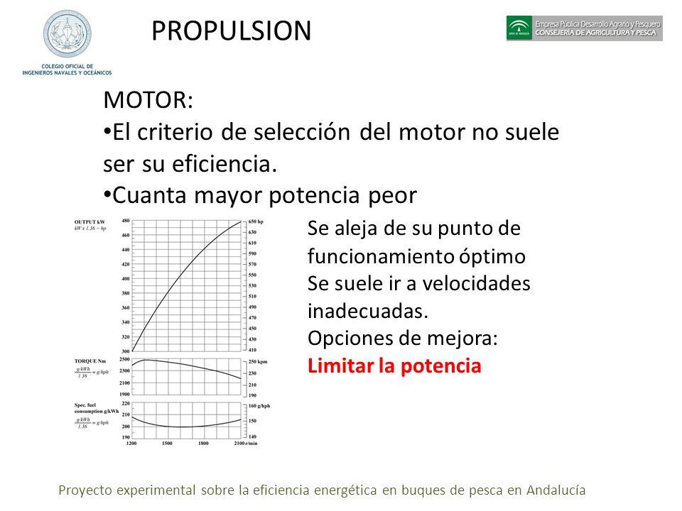 PROPULSION MOTOR: El criterio de selección del motor no suele ser su eficiencia. Cuanta mayor potencia peor.