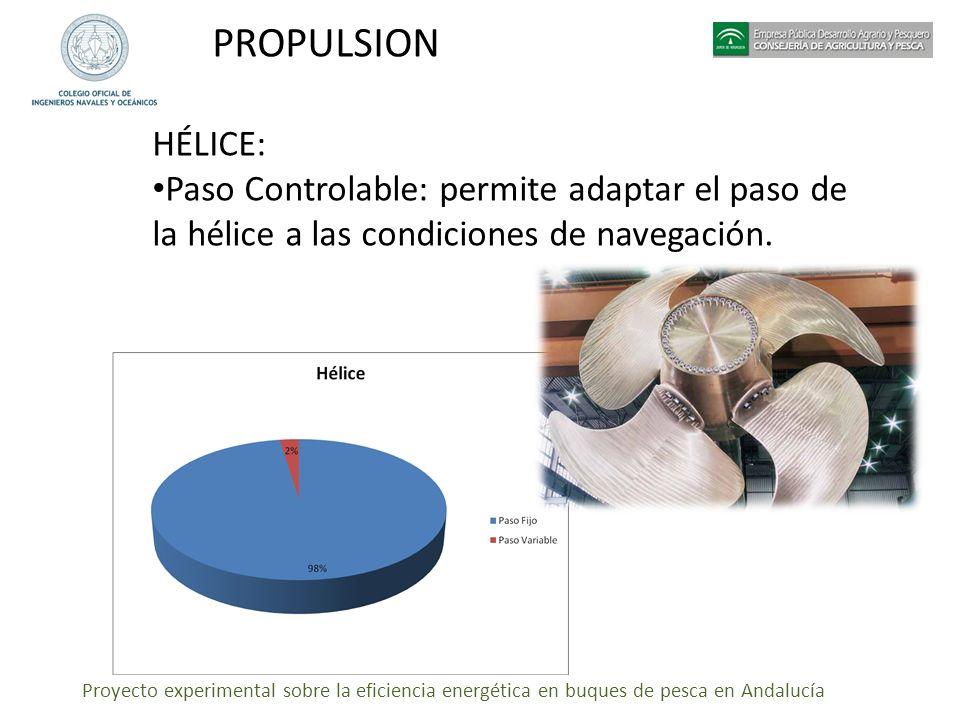 PROPULSION HÉLICE: Paso Controlable: permite adaptar el paso de la hélice a las condiciones de navegación.
