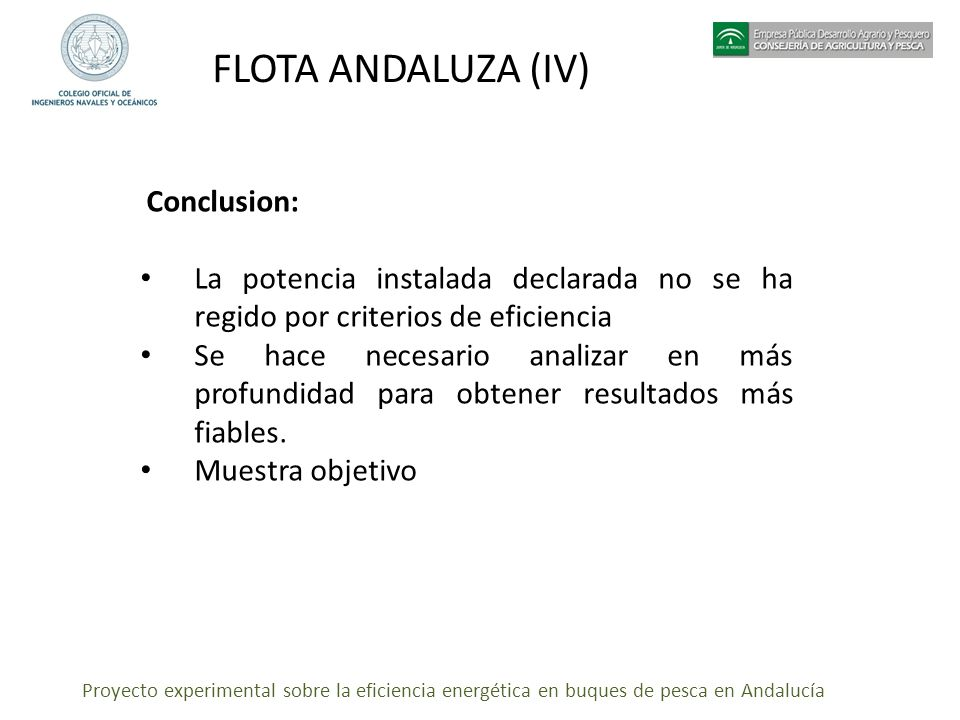 FLOTA ANDALUZA (IV) Conclusion: