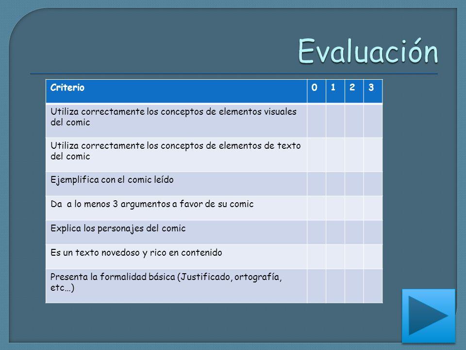 Evaluación Criterio. 1. 2. 3. Utiliza correctamente los conceptos de elementos visuales del comic.