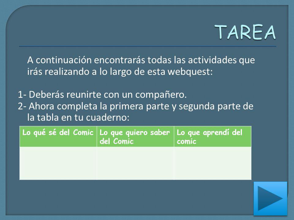 TAREA A continuación encontrarás todas las actividades que irás realizando a lo largo de esta webquest: