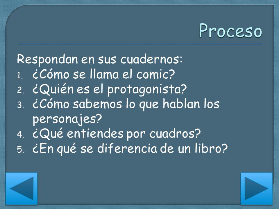 Proceso Respondan en sus cuadernos: ¿Cómo se llama el comic