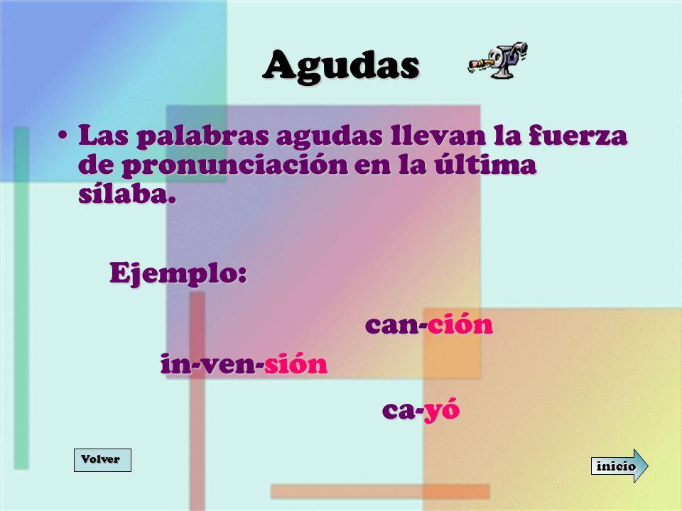 Agudas Las palabras agudas llevan la fuerza de pronunciación en la última sílaba. Ejemplo: can-ción.