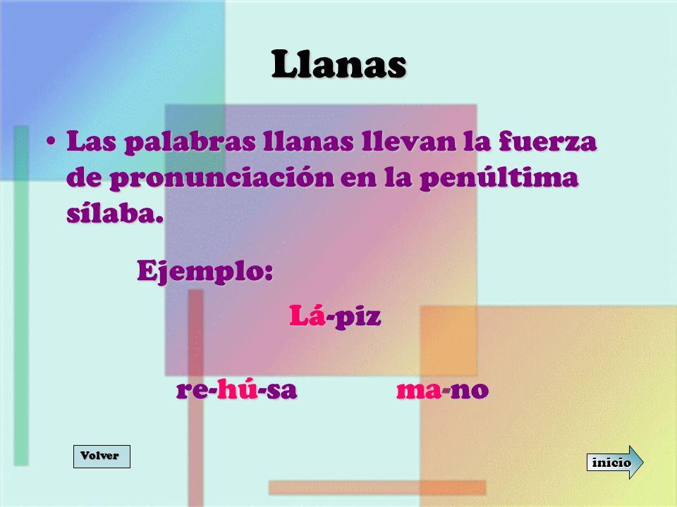 Llanas Las palabras llanas llevan la fuerza de pronunciación en la penúltima sílaba. Ejemplo: Lá-piz.