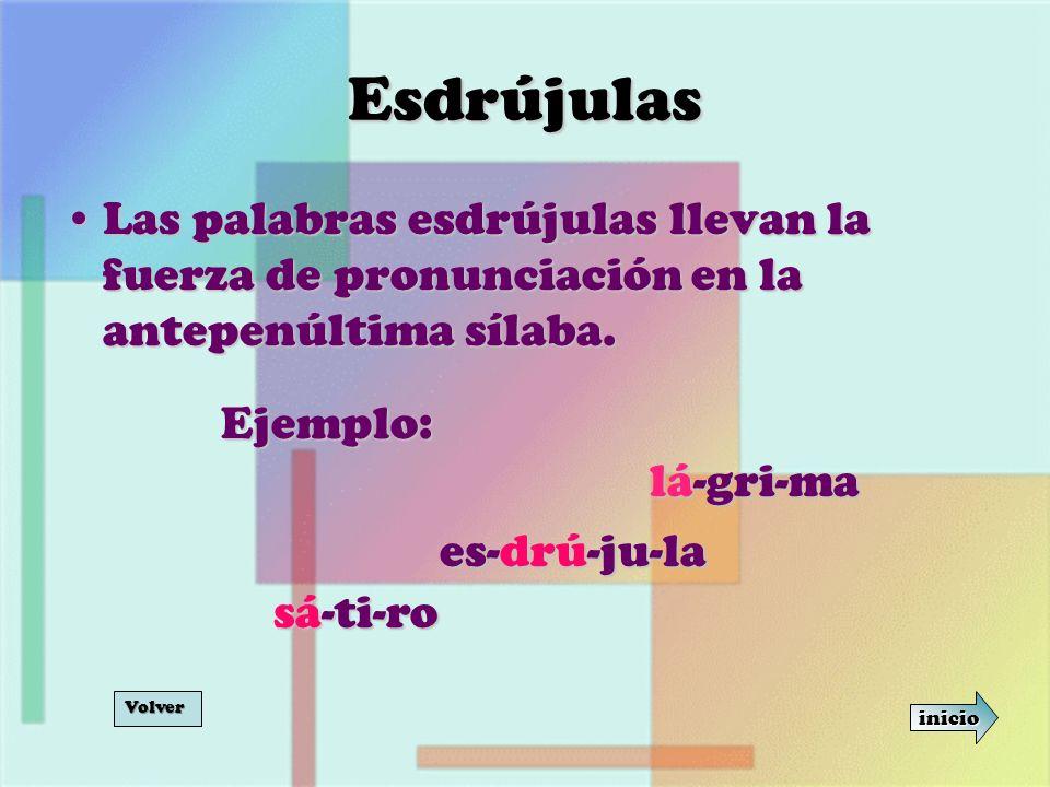 Esdrújulas Las palabras esdrújulas llevan la fuerza de pronunciación en la antepenúltima sílaba. Ejemplo: