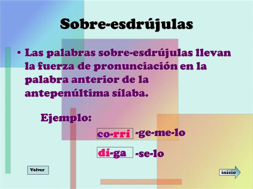 Sobre-esdrújulas Las palabras sobre-esdrújulas llevan la fuerza de pronunciación en la palabra anterior de la antepenúltima sílaba.