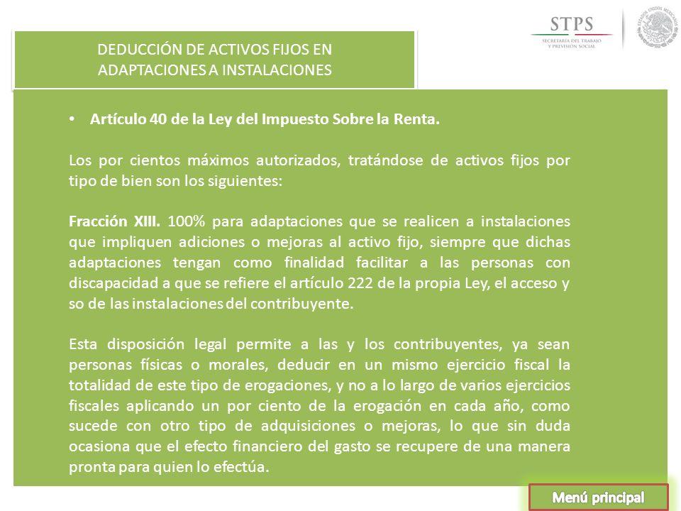 DEDUCCIÓN DE ACTIVOS FIJOS EN ADAPTACIONES A INSTALACIONES