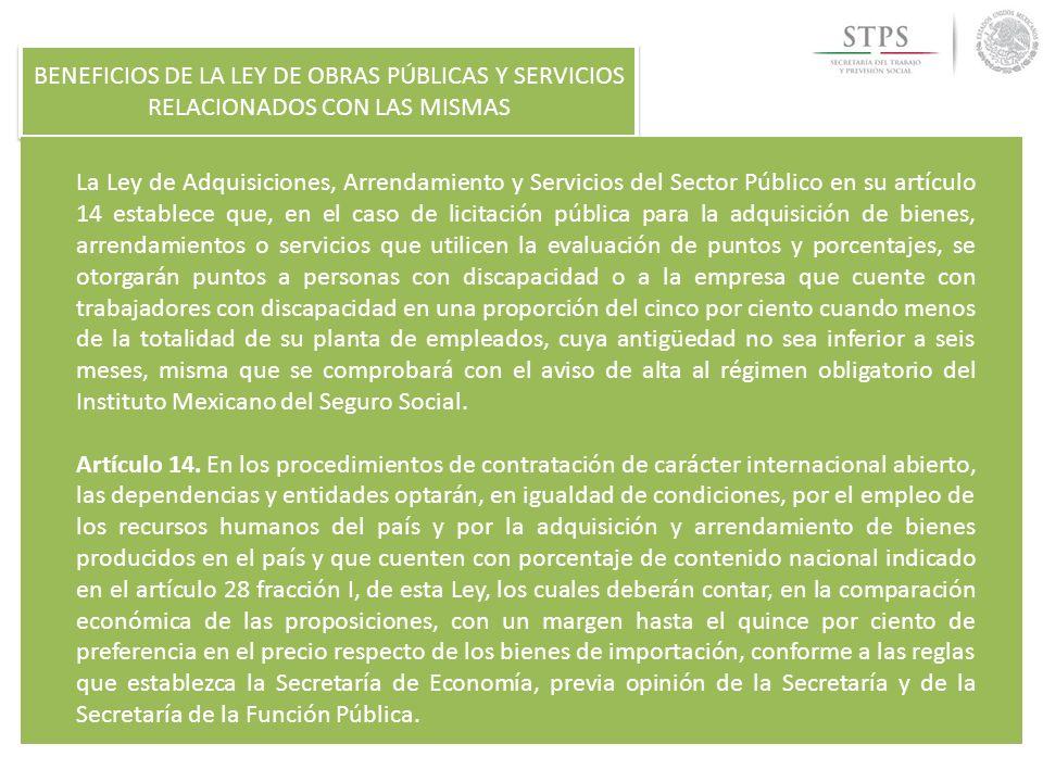 BENEFICIOS DE LA LEY DE OBRAS PÚBLICAS Y SERVICIOS RELACIONADOS CON LAS MISMAS