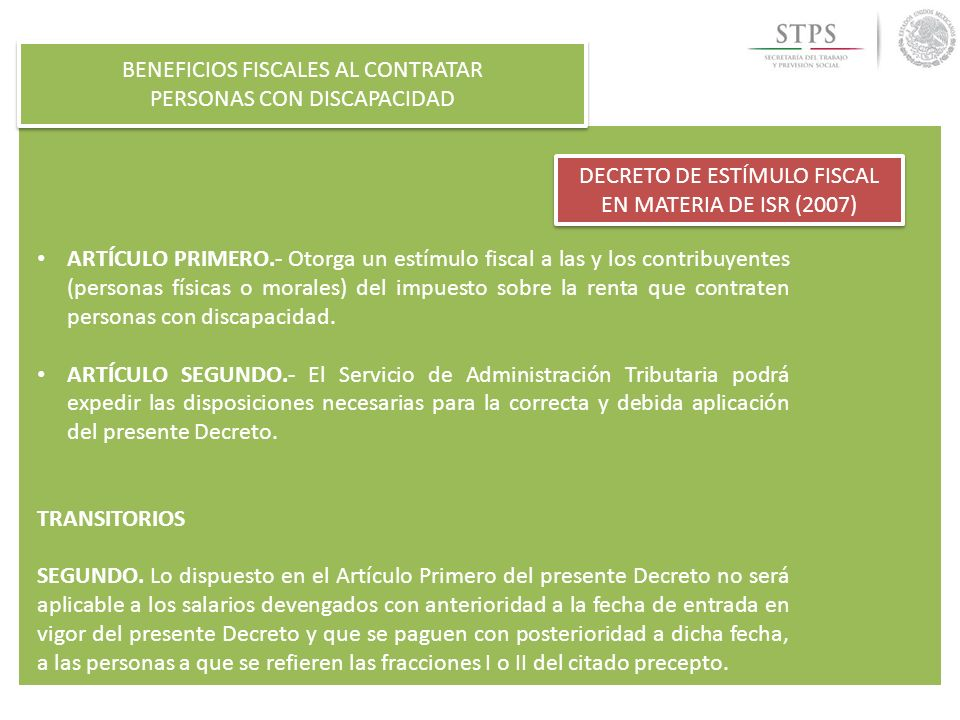 BENEFICIOS FISCALES AL CONTRATAR PERSONAS CON DISCAPACIDAD