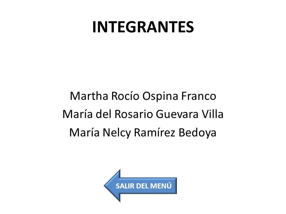INTEGRANTES Martha Rocío Ospina Franco María del Rosario Guevara Villa María Nelcy Ramírez Bedoya SALIR DEL MENÚ.