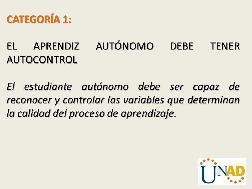 CATEGORÍA 1: EL APRENDIZ AUTÓNOMO DEBE TENER AUTOCONTROL.