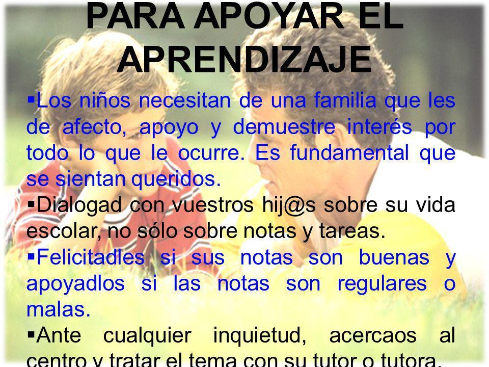 PARA APOYAR EL APRENDIZAJE