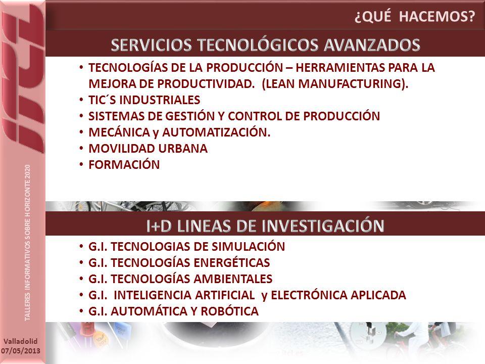 SERVICIOS TECNOLÓGICOS AVANZADOS I+D LINEAS DE INVESTIGACIÓN