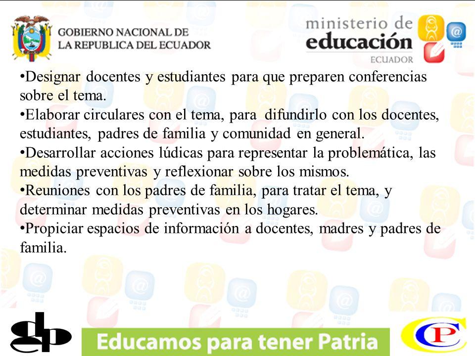 Designar docentes y estudiantes para que preparen conferencias sobre el tema.