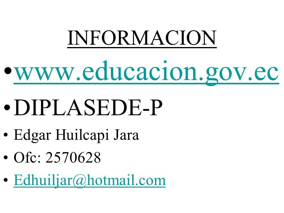 www.educacion.gov.ec DIPLASEDE-P INFORMACION Edgar Huilcapi Jara