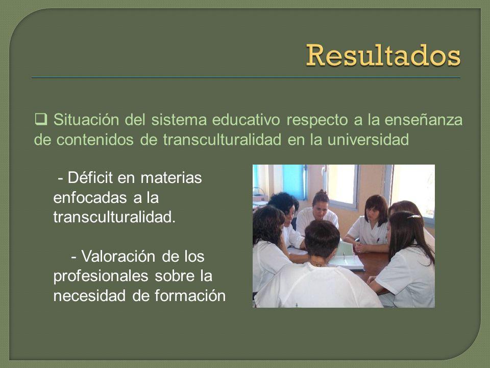 Resultados Situación del sistema educativo respecto a la enseñanza de contenidos de transculturalidad en la universidad.