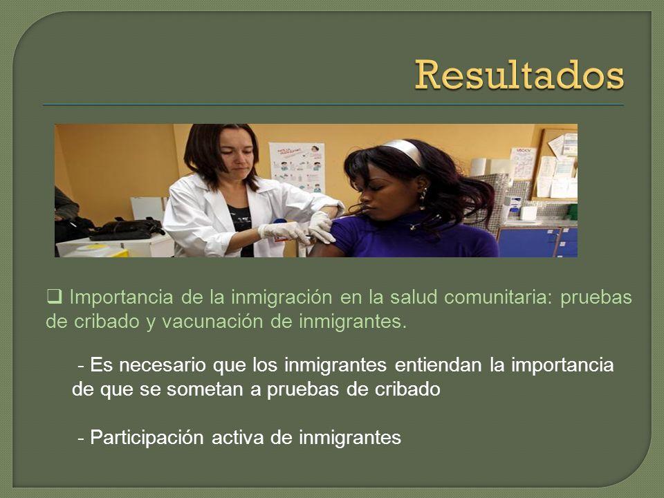 Resultados Importancia de la inmigración en la salud comunitaria: pruebas de cribado y vacunación de inmigrantes.