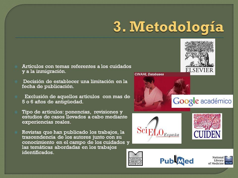 3. Metodología Artículos con temas referentes a los cuidados y a la inmigración. Decisión de establecer una limitación en la fecha de publicación.