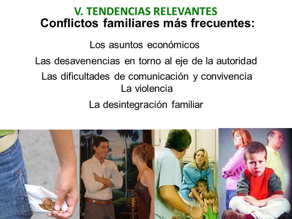 V. TENDENCIAS RELEVANTES Conflictos familiares más frecuentes: