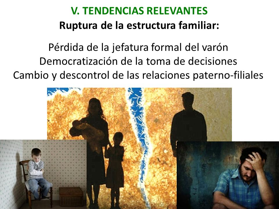 V. TENDENCIAS RELEVANTES Ruptura de la estructura familiar: