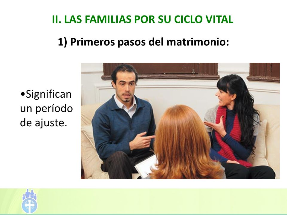 II. LAS FAMILIAS POR SU CICLO VITAL 1) Primeros pasos del matrimonio: