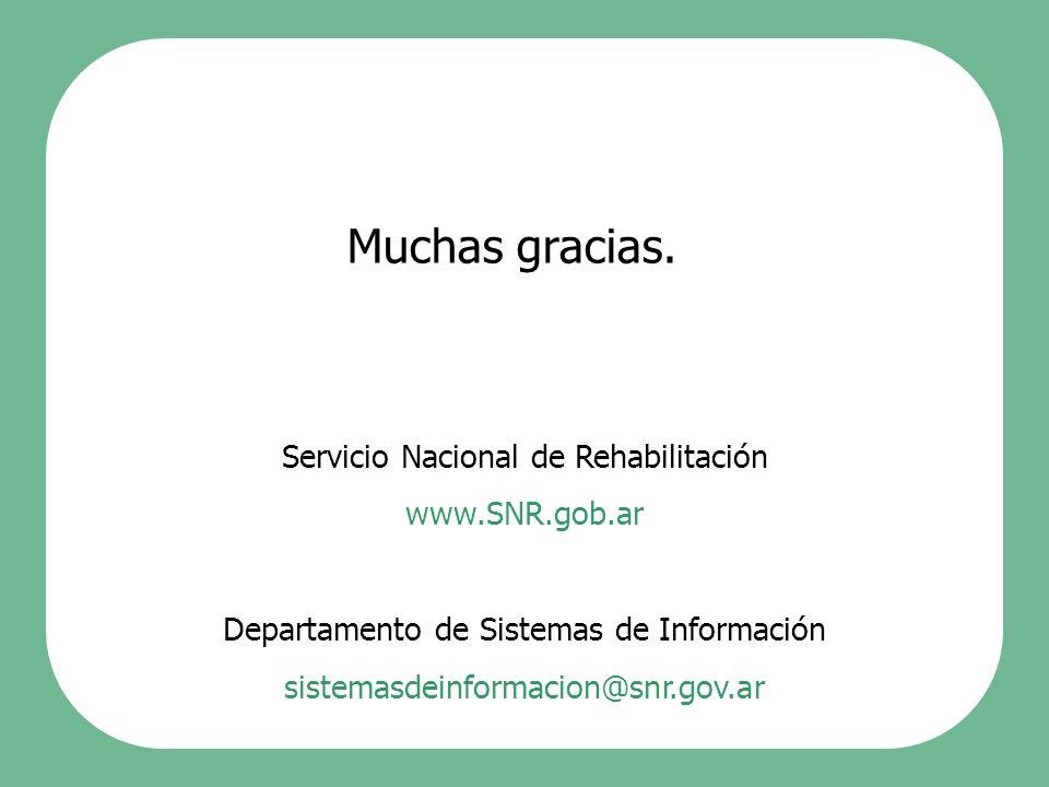 Muchas gracias. Servicio Nacional de Rehabilitación www.SNR.gob.ar