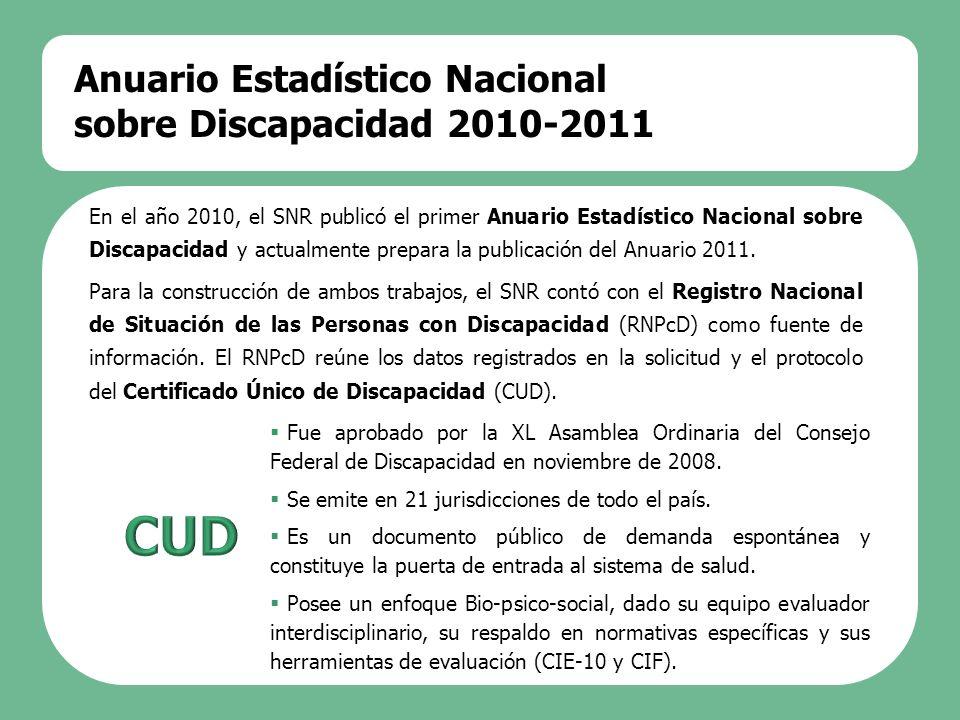 CUD Anuario Estadístico Nacional sobre Discapacidad 2010-2011
