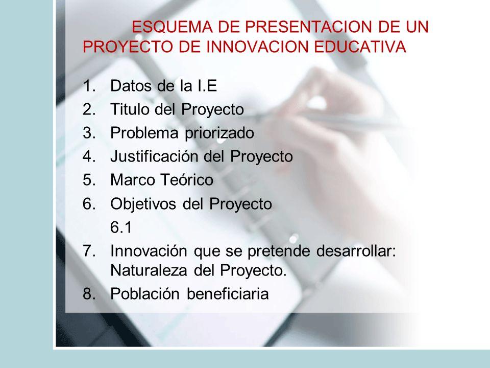 ESQUEMA DE PRESENTACION DE UN PROYECTO DE INNOVACION EDUCATIVA