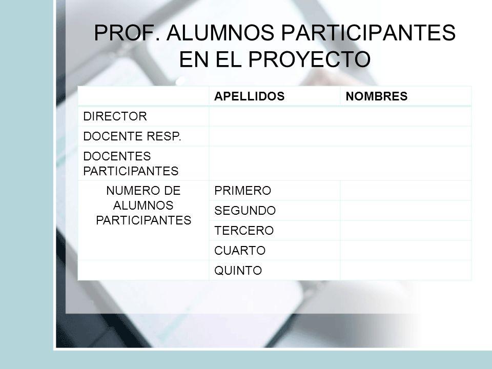 PROF. ALUMNOS PARTICIPANTES EN EL PROYECTO