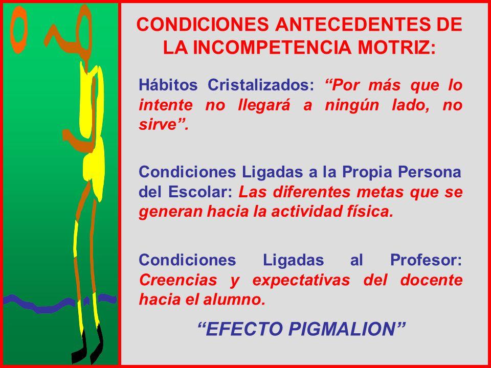 CONDICIONES ANTECEDENTES DE LA INCOMPETENCIA MOTRIZ:
