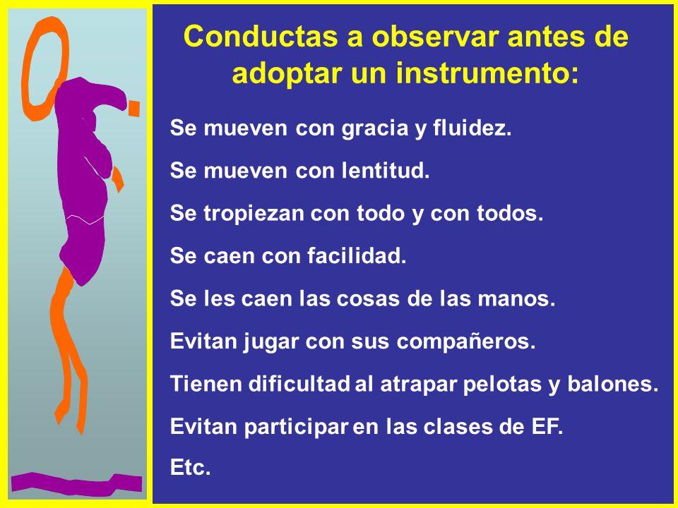 Conductas a observar antes de adoptar un instrumento: