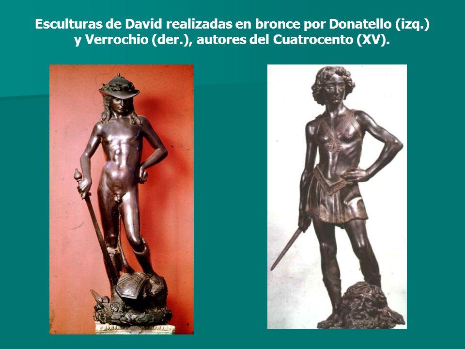 Esculturas de David realizadas en bronce por Donatello (izq