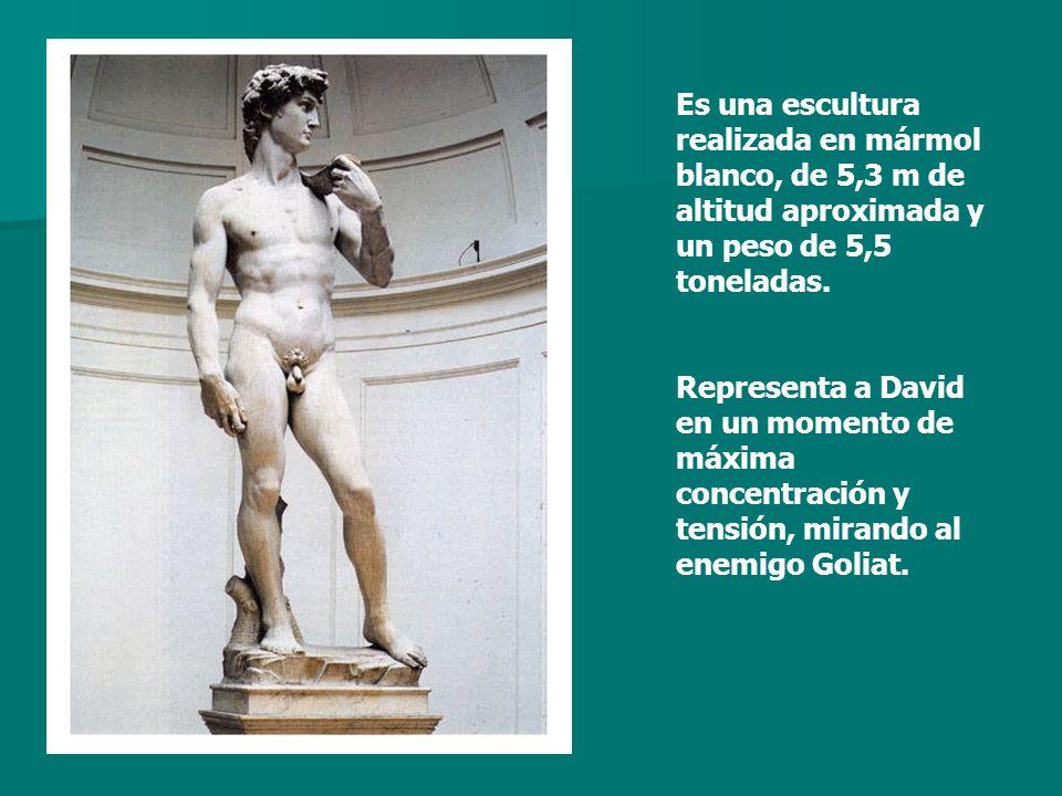 Es una escultura realizada en mármol blanco, de 5,3 m de altitud aproximada y un peso de 5,5 toneladas.