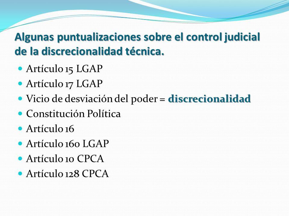 Algunas puntualizaciones sobre el control judicial de la discrecionalidad técnica.