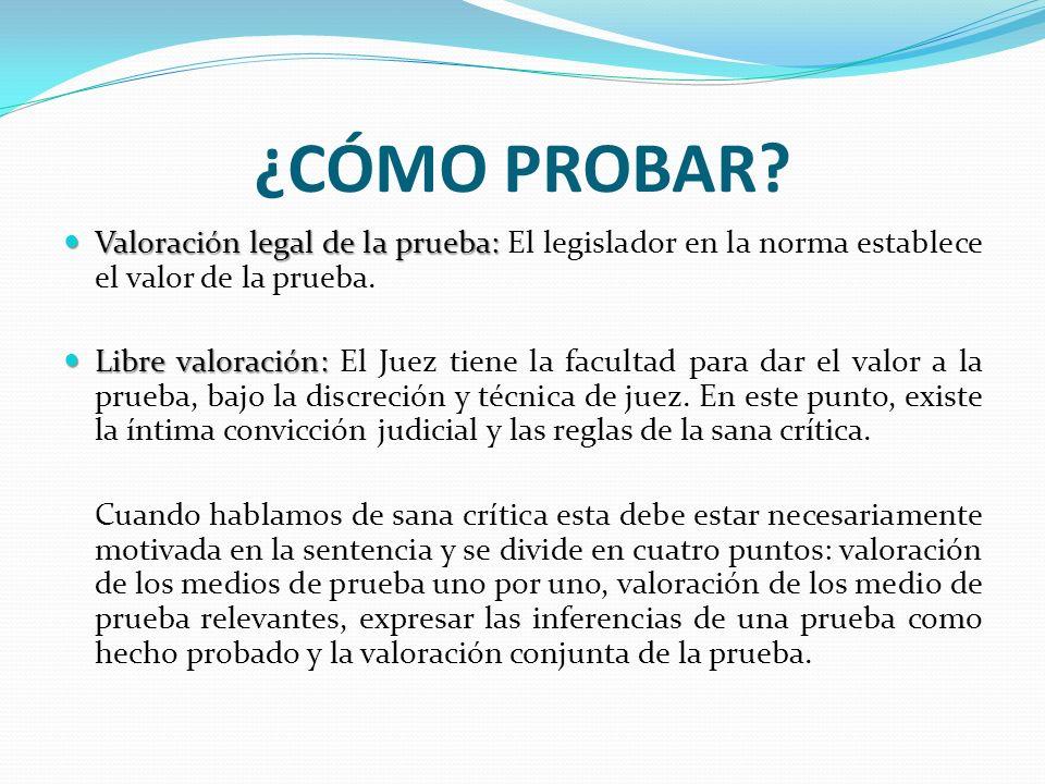 ¿CÓMO PROBAR Valoración legal de la prueba: El legislador en la norma establece el valor de la prueba.