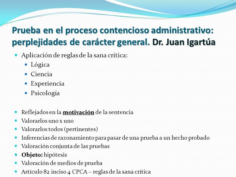 Prueba en el proceso contencioso administrativo: perplejidades de carácter general. Dr. Juan Igartúa